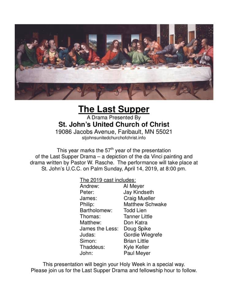 The Last Supper Drama: April 14 @ 8 pm