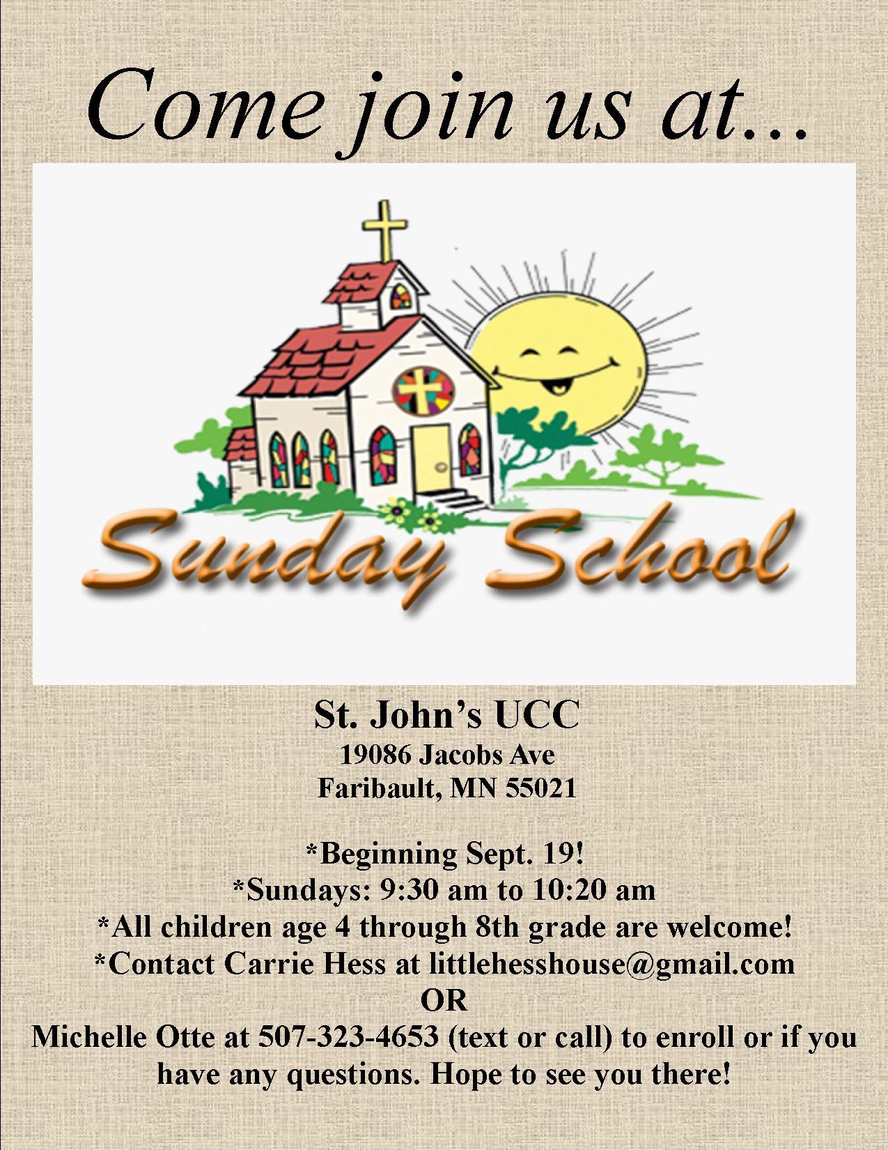 Sunday School '21-'22 Resuming 9/19/21